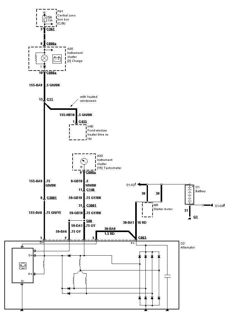 wiring diagram for alternator to rev counter